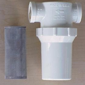 Low pressure strainer housing and mesh filter