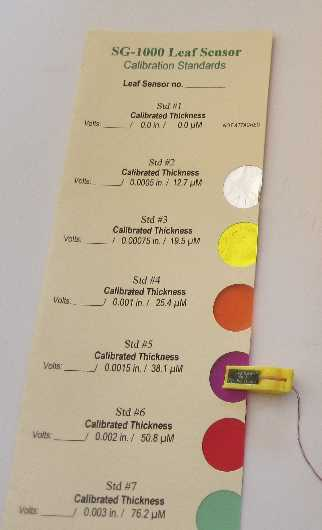Leaf Sensor Calibration Standards Card